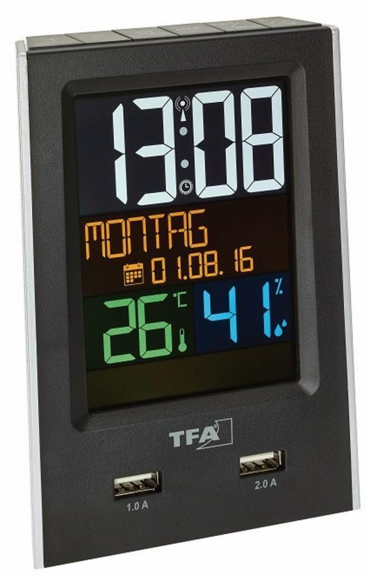 Budík s ukazatelem vnitřní teploty a vlhkosti a USB výstupem pro dobíjení mobilních zařízení TFA 60.2537.01