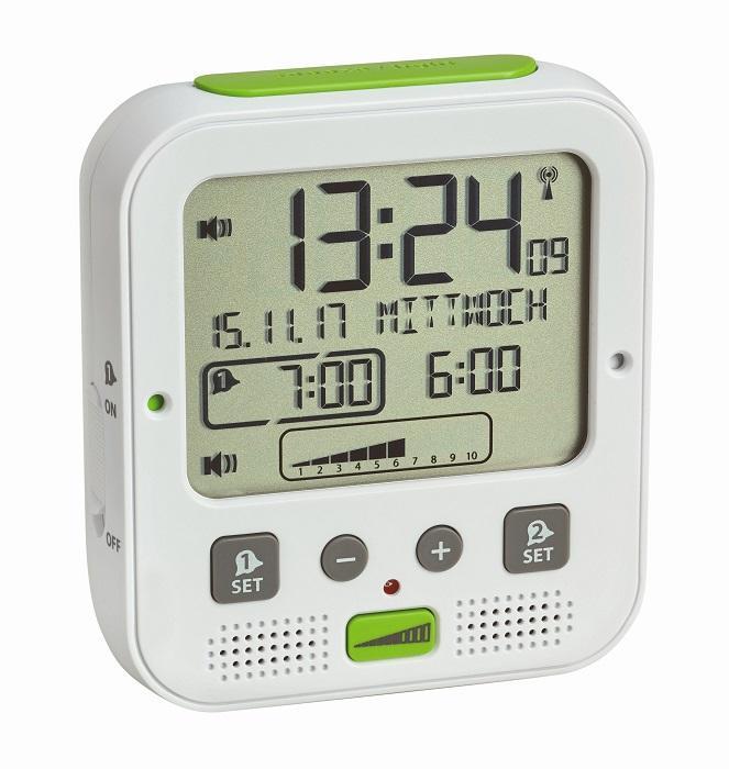 Rádiově řízený budík s vibrační jednotkou a extra hlasitým zvoněním TFA 60.2538.02 BOOM
