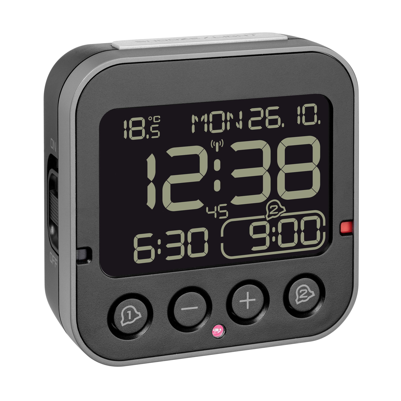 Digitální rádiem řízený budík s inverzním displejem a ukazatelem vnitřní teploty TFA 60.2552.01 BINGO 2.0