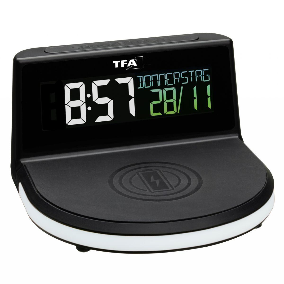 Digitální budík s možností bezdrátového nabíjení TFA 60.2028.01 CHARGE-IT WIRELESS