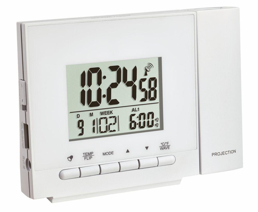 Digitální budík s rádiově řízeným časem a projekcí TFA 60.5013.02 - bílý